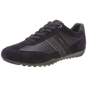 Geox Men's U Wells C Low-Top Sneakers, Blue (Navy/Dk Burgundy Cf47j), 8 UK (42 EU)