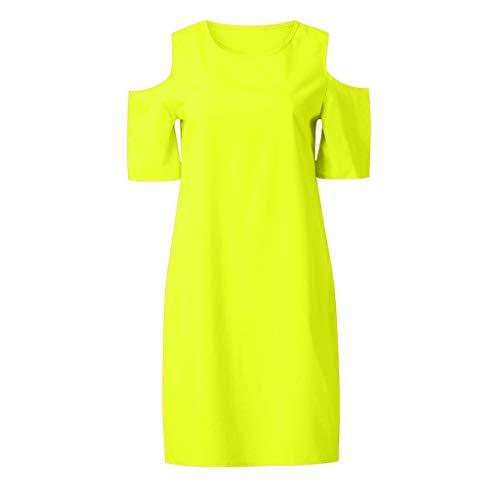 LOPILY Damen T-Shirt Kleid Sommerkleider Sommer Einfarbig Einfach Bequem Freizeit Minikleid Kleider Reizvolle Schulterfrei Rundhals Strandkleid ()