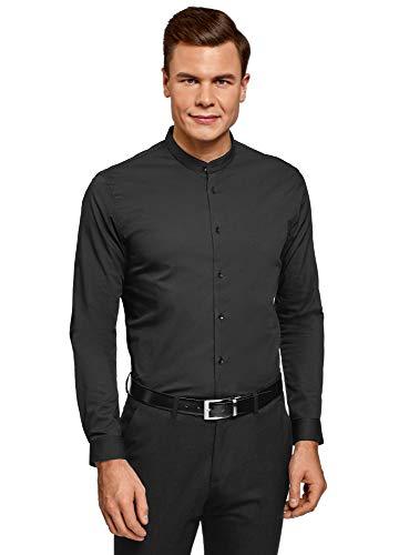 Oodji ultra uomo camicia silm fit con collo alla coreana, nero, 40cm / it 46 / eu 40 / s