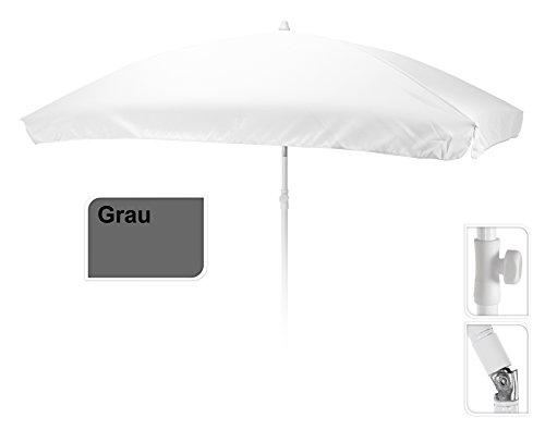Meinposten Sonnenschirm 200x130 cm Gartenschirm Terrassenschirm 130x200 eckig rechteckig (Grau)