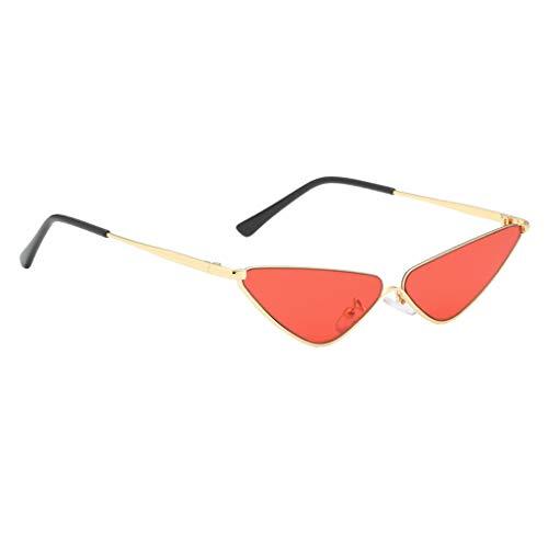 B Baosity Sonnenbrille Kleine Dreieck Metallrahmen Brille Unisex Gläser - Rot