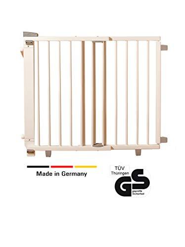 Geuther - Schwenk- Treppenschutzgitter 2735, für Kinder, Hunde und Katzen, Made in Germany, Befestigung mit Schrauben/Klemmen am Geländer, verstellbar, Holz, weiß, 95 - 135 cm, TÜV geprüft - Zwei Breite Wickelkommode