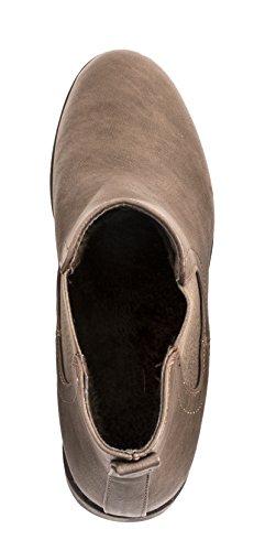 Elara Chelsea Boots   Bequeme Damen Stiefeletten   Lederoptik Blockabsatz Braun Andalusien