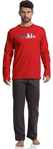 Lange Muster Warme Baumwolle (Cornette Herren Schlafanzug 124 2016 (Rot/Graphite (Origin 2), XXL))