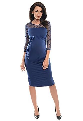 Purpless Maternity Geraffte Figurbetonten Schwangerschaft Kleid mit Polka Dots Spitze D008 (36, (Jeans Kleid)