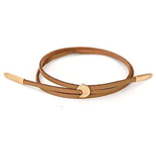 Daawqee Bracciale da Donna,Bracciali Women New Double Layer PU Leather Bracelets Vintage Worn Gold Zinc Alloy Moon Pendant Adjustable Charm Bangles Jewelry Female Brown