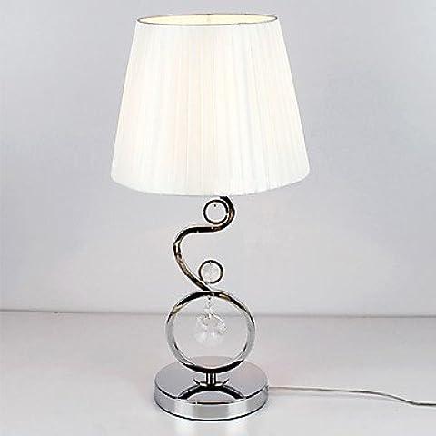 JSGN-lampada da tavolo moderno con decorazioni in cristallo tessuto elegante tonalità di bianco stile pieghettato 220-240v ,