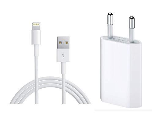 rigenerati srl Kit di Ricarica: Caricabatterie Spina Adattatore USB MD813 + Cavo di Ricarica per iPhone 5 6 S 7 8 X S MD818