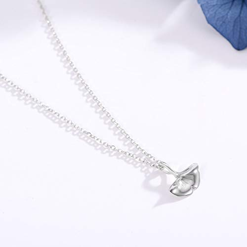 JMPSQ Halskette 925 Sterling Silber Ginkgo Biloba Blatt Anhänger Halsketten Für Frauen Gliederkette Choker Geschenk Schmuck Femme -