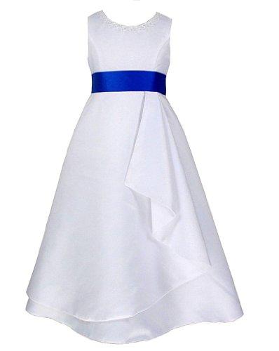 go2victoria Satin Brautjungfern Anlässe Festkleid Mädchen Weiß Kleid & Königsblau Schärpe...