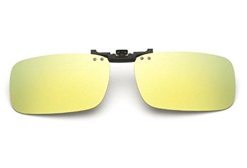 Flip-up Polarisierte Sonnenbrillen Klipp auf Sonnenbrille Gläsern Brille VF-GLS-F15 (Gold Quecksilber) (Gold Quecksilber)