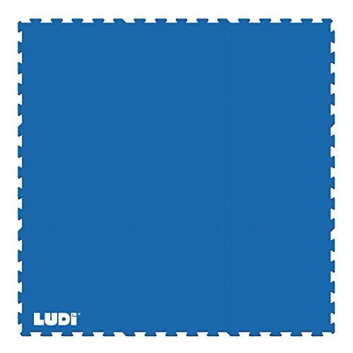 LUDI - Tapis de sol sécurisant 145 x 145 cm. Lot de 9 dalles à encastrer. Amortit les chocs, évite les dérapages. A installer sous les piscines et aires de jeu en intérieur ou en extérieur - 90007