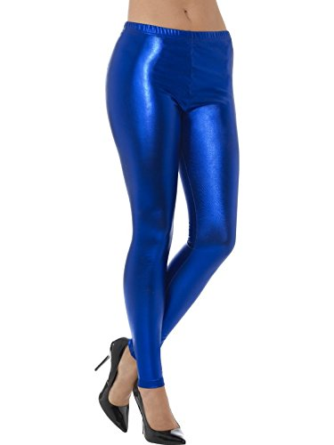 Preisvergleich Produktbild Smiffys Damen 80er Jahre Metallic Disko Leggings,  Größe: 40-42,  Blau,  48103