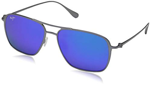 Maui Jim B541-27A Dove Grey Dove Grey Beaches Square Sunglasses Polarised Lens Category 3 Lens Mirrored Size 57mm