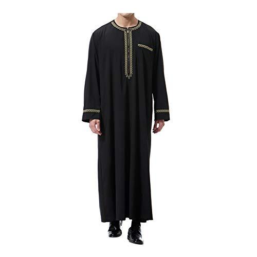 Meijunter Muslim Herren islamisch Dubai Robe - Reißverschluss O-Ausschnitt Lange Ärmel Araber Thobe Saudi Stil Dishdasha Kaftan Mittlerer Osten Ethnisch Kandoura -
