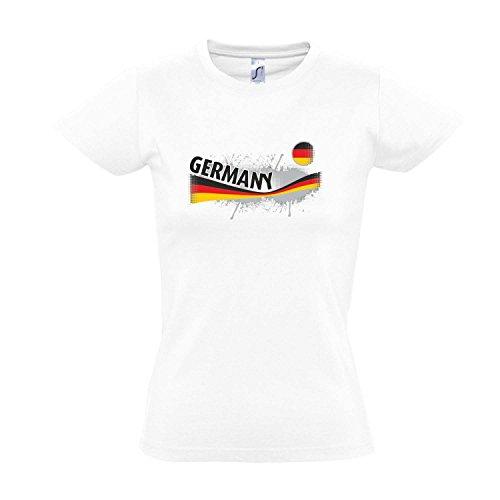 Fanshirt-Damen GERMANY, Deutschland Ländershirt EM / WM Trikot S-XXL , White , S