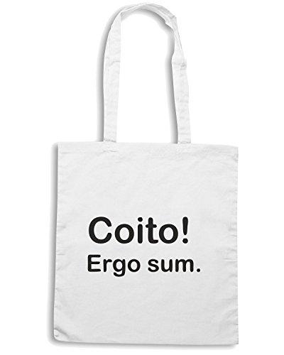 T-Shirtshock - Borsa Shopping TDM00047 coito ergo sum Bianco