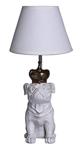 TISCHLEUCHTE MOPS MIT Krone Lampe Shabby Weiss LEUCHTE MOPSFIGUR Palazzo Exclusive Le Mop