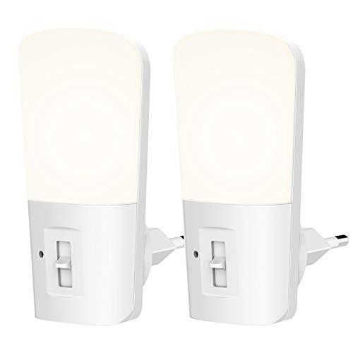 LOHAS Luz Nocturna Infantil, Luz de Noche con Sensor LED, 1W Equivalente a 15W, 5LM-80LM, 220V -240V, Blanco Frío 6000K, Regulable, Perfectamente Utilizado en la Sala de Estar, Paquete de 2 Unidades