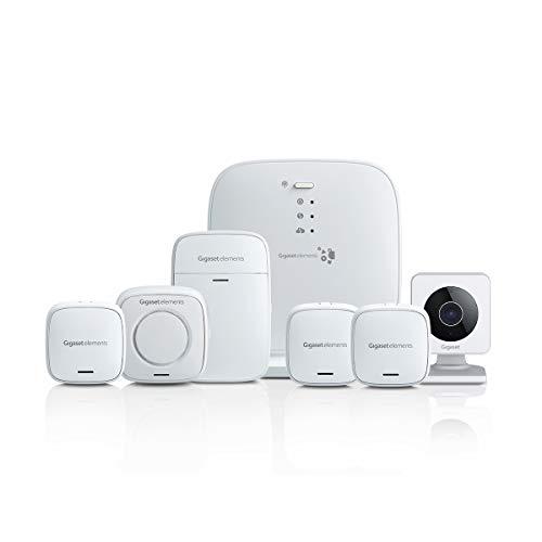 Gigaset Alarmanlage Haus Komplettset (mit WLAN-Kamera, lauter Alarmsirene, Bewegungsmelder, Tür-Alarm, 2x Fenster-Alarm, funktioniert mit Alexa und Google, Smart Home System)