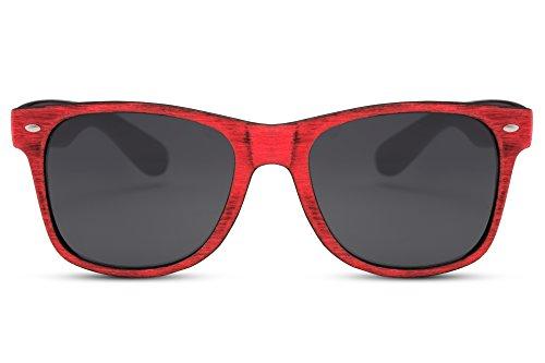 Cheapass Sonnenbrille Rot Recht-Eckig Holz-Muster Naturoptik 100% UV-400 Plastik Damen Herren