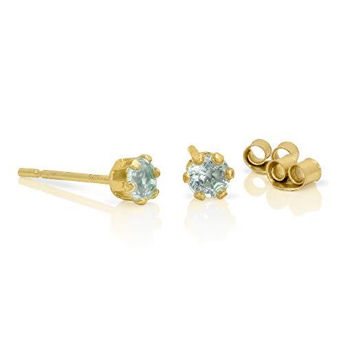 Orecchini punto luce in oro giallo 9ct e pietre preziose topazi azzurri rotondi di 3mm