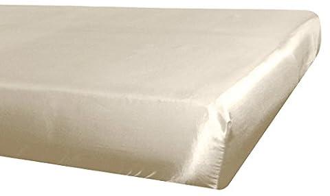 beties Glanz Satin Spannbetttuch 100x200 cm anschmiegsam & edel 100% Polyester (wählen Sie Ihren Kissenbezug + Bettbezug extra dazu) Farbe (Glatte Glanz Creme)