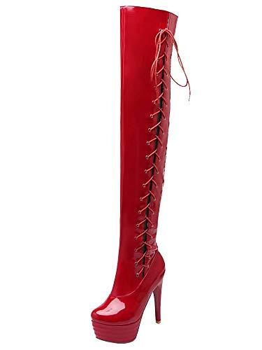 AIYOUMEI Damen Stiletto High Heels Lack Overknee Stiefel mit Schnürsenkel und Plateau Langschaft Stiefel -