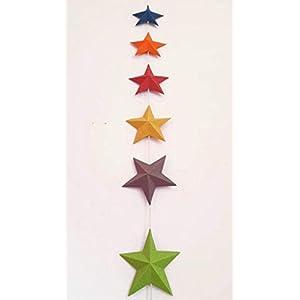 Dekogirlande, 6 bunte Sterne, Recyclingkarton