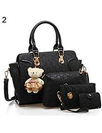 ELECTROPRIME 5 Pcs/Set Fashion Lady Faux Leather Handbag Shoulder Bag Clutch Card Holder Gift - B077N2ZT64