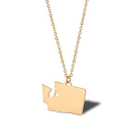 NSXLSCL Damenhalskette Einfache Washington State Map Form Rose Gold Anhänger Mit Halskette Für Frauen Jeden Besonderen Moment Geschenk -