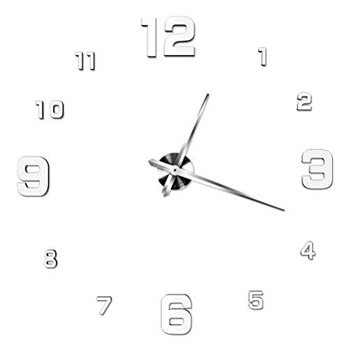 WINOMO Moderne 3D rahmenlose große Wand Uhr Neuheit DIY Spiegel Oberfläche Uhr Home Dekorationen (Silber-weiß) (Wand-uhr)
