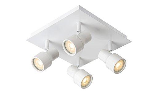 Lucide Foco de Techo LED-Sirena-Diámetro 10Cm-LED DIM.-GU10-2x 4,5W 3000K-IP44, metal, blanco, GU10...