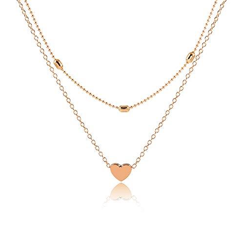 WikiMiu Collana multistrato per donne, con pendente a cuore, collana regolabile con girocollo, gioielli con charm da personalità, colore oro