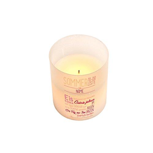 kte LED Kerze für Gartentisch mit Sommer-to do-Motiv und Ihren Wunschnamen (Fangen Glühwürmchen)