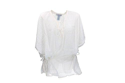 cheaper dc991 13a3d Pierre Cardin Copricostume donna caftano bianco con scollo a ...