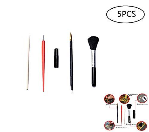 ouken 5pcs / Set Werkzeuge Scratch Kunst Malerei Kunst Werkzeuge Zeichnung Set mit Stock-Scraper zum Scratch-Skizze-Kunst-Malerei-Papiere Flüssigkeit Scratch-Feder-Schwarz-Bürsten-Reparatur -