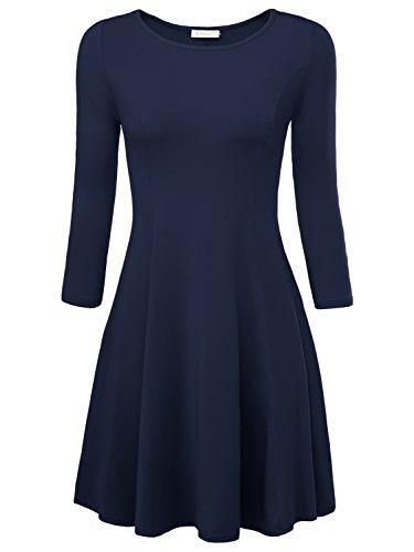 BAISHENGGT Damen Skaterkleid Rundhals 3/4-Arm Fattern Stretch Basic Kleider Blau L