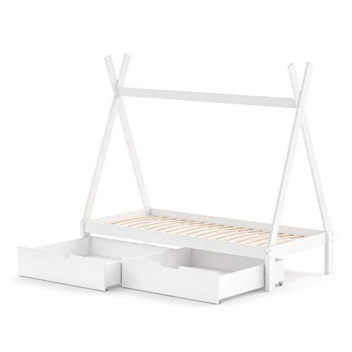 Optional Kinderbett-schublade (VitaliSpa Kinderbett Tipi Hausbett weiß Natur Bett Kinderhaus Zelt Bett Schublade 90x200cm)