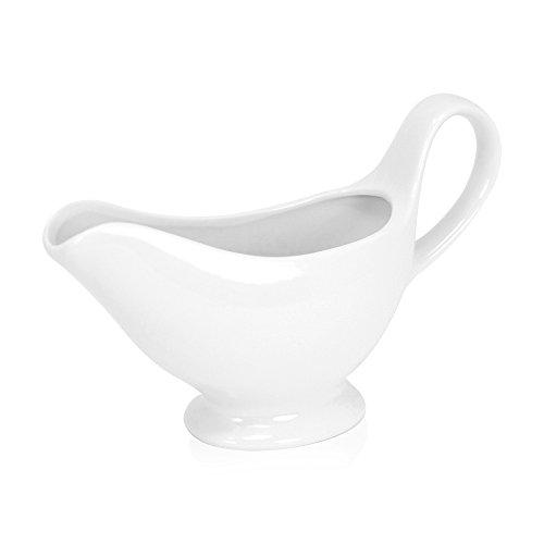 COM-FOUR® Saucière en céramique fine, saucière à pied, 260 ml (01 pièce)