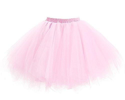 Facent Mädchen Kinder Kurz Tutu Rock Tüllrock Tütü Crinoline Minirock Reifrock Unterrock Kleid Tüll Rosa
