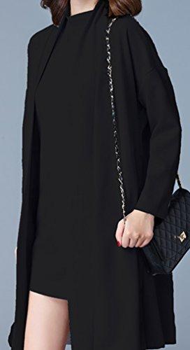 erdbeerloft - Damen Kurzes Kleid mit passendem Cardigan, S-3XL, Viele Farben Schwarz