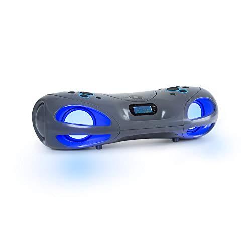 auna Spacewoofer • tragbarer CD-Player mit Radio • Mobile Boombox • 40 Watt • UKW Radio • Bluetooth • CD • USB • AUX IN • LED-Lichteffekte • Netz- oder Batteriebetrieb • Fernbedienung • grau