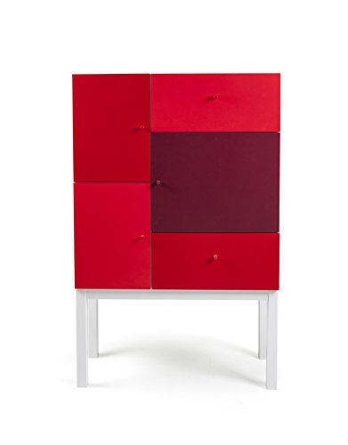 Hartholz-buffet (Tenzo 1972-428 Color Designer Schrank Holz, rot Mix / weiß, 36 x 79 x 123 cm)