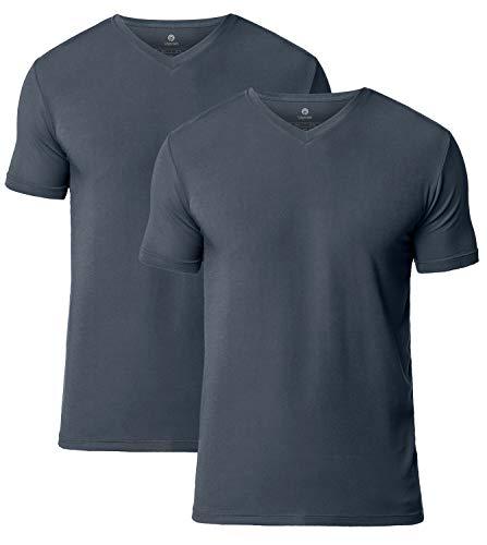 LAPASA 2er Pack Herren T-Shirts - SUPER WEICHES Micromodal - Business Kurzarm Unterhemd mit V-Ausschnitt Für Männer M08 -