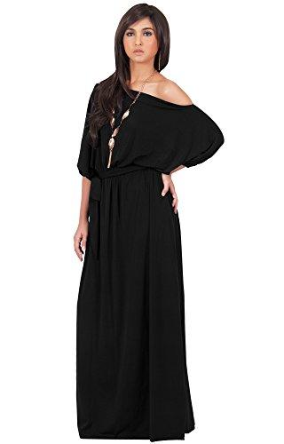 KOH KOH Da Donna Taglia Comoda Maxi abito monospalla sexy casual con manica a 3/4 Vestiti, colore Nero, taglia XL Extra Large