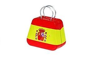 Petite boîte de rangement rétro Petite boîte en métal forme valise de bonbons de stockage de thé boîte en étain carré rétro sac boîte en fer (drapeau espagnol)