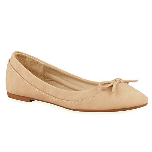 Klassische Damen Ballerinas Lederoptik Flats Freizeit Schuhe Übergrößen Creme Schleife