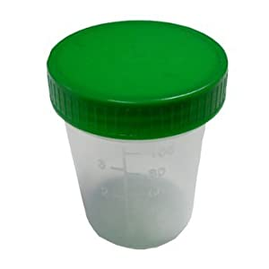 Urinbecher 10 Stück Urinprobenbecher 125ml mit grünem Schraubdeckel graduiert beschriftbar