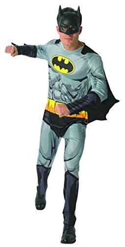 Kostüm Buch Comic Männer - Halloweenia - Herren Männer Batman Comic Buch Kostüm mit Overall, Umhang und Maske, perfekt für Karneval, Fasching und Fastnacht, XL, Grau
